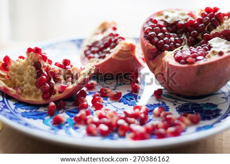 bright juicy ripe pomegranate flavored - stock photo