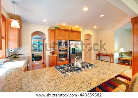 Bright kitchen room interior with brown cabinets, granite counter top and stainless steel appliances. - stock photo