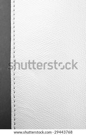 bright leather texture with stitch - stock photo