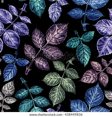 Bright leaves seamless pattern on black background. - stock photo