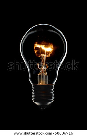 Bright Light Bulb isolated on black