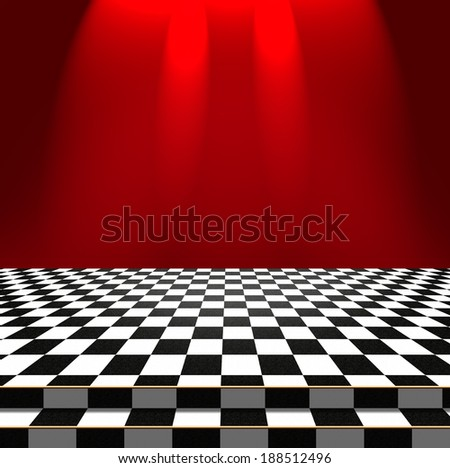 Bright light falls on the red wall and the checkerboard floor