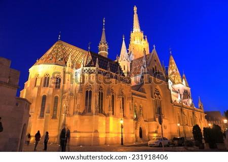 Bright light on the St Matthias catholic church at evening, Budapest, Hungary - stock photo