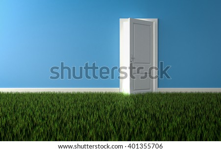 Bright light shining through open door in room with growing grass on floor. Concept of nature. 3d render - stock photo