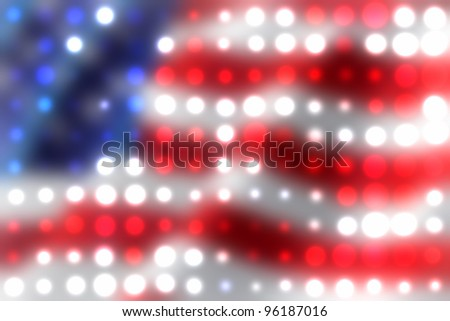 Bright light spots in the colors of American flag - stock photo