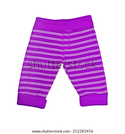 Bright lilac striped baby trousers isolated on white  - stock photo