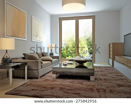 Bright living room modern style. 3d render - stock photo