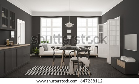 Bright minimalist living room with sofa and dining table, scandinavian white and gray  interior design, 3d illustration