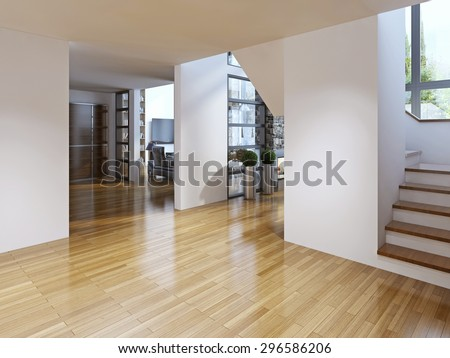 Bright modern corridor with stairs. Corridor with access to the dining room and living room, staircase to the second floor. The white walls and light parquet floors. Modern architecture. 3D render
