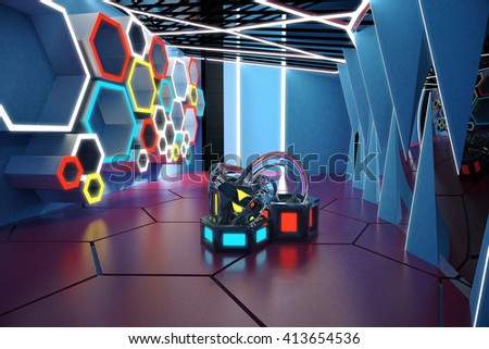 Bright modern interior design with colorful honeycomb pattern on wall and abstract art piece in the middle. 3D Rendering - stock photo