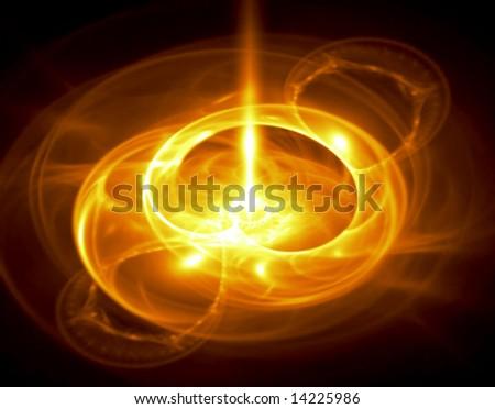 Bright Molten Gold - fractal illustration - stock photo