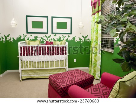 Bright nature themed baby's nursery