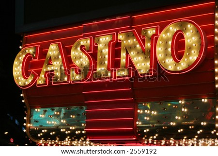 Bright neon casino sign - stock photo