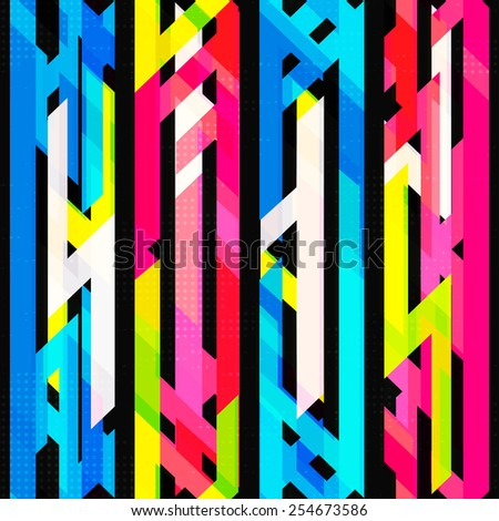 bright neon seamless pattern with grunge effect (raster version) - stock photo