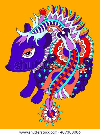 bright nice hedgehog ethnic doodle drawing, raster version illustration - stock photo