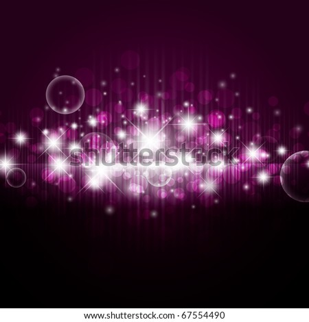 bright night background with stars and lights - stock photo