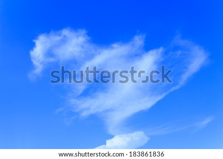Bright of blue sky and Heart cloud
