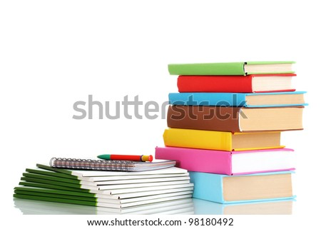 Bright office folders and books with stationery isolated on white