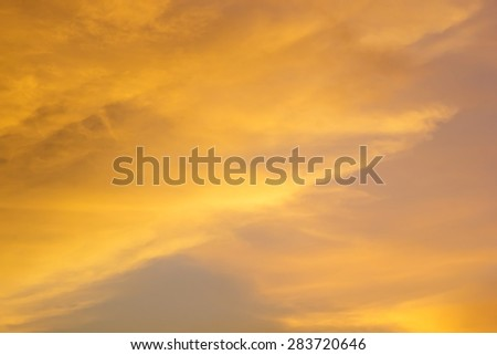 Bright orange and yellow colors sunset sky