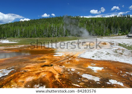 Bright orange colors of thermophilic bacteria in the Upper Geyser Basin of Yellowstone National Park - stock photo