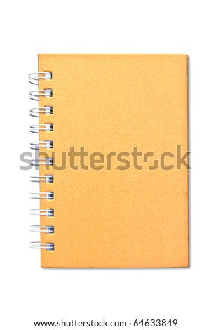 Bright orange cover of notebook isolated on white background.