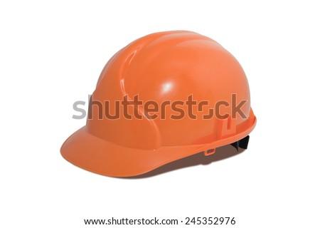 Bright orange hardhat isolated over white background - stock photo
