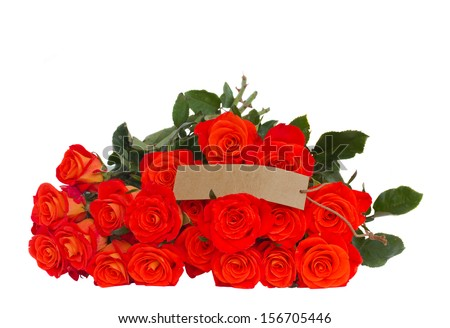 bright orange roses  with empty tag  isolated on white background