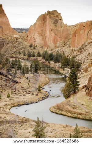 Bright Overcast Day Rugged Oregon Landscape Crooked River Smith Rock - stock photo