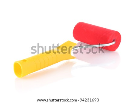 bright paint roller isolated on white