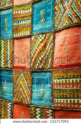 Bright paints of the Moroccan and berber carpets