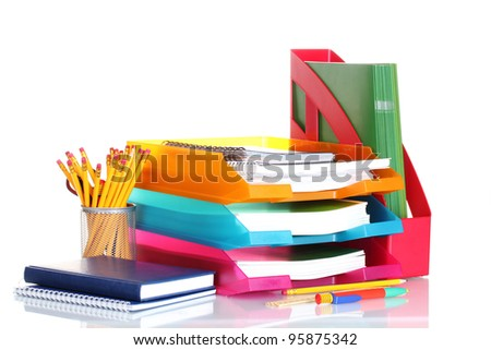 bright paper trays and stationery isolated on white - stock photo