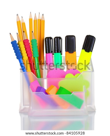 Bright pens, pencils and erasers in holder isolated on white