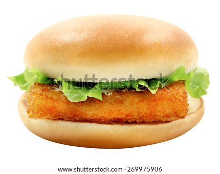 Bright photo of macro tasty burger with fish fillet on a white background  - stock photo