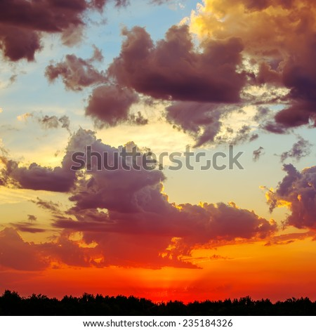 Bright picture.Beautiful landscape with sunset  - stock photo