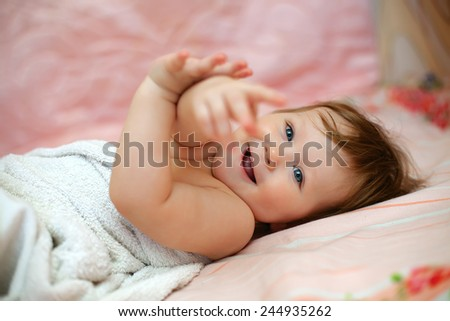 bright picture of adorable baby girl - stock photo
