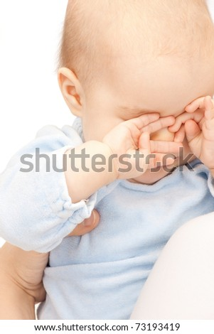 bright picture of adorable baby over white - stock photo