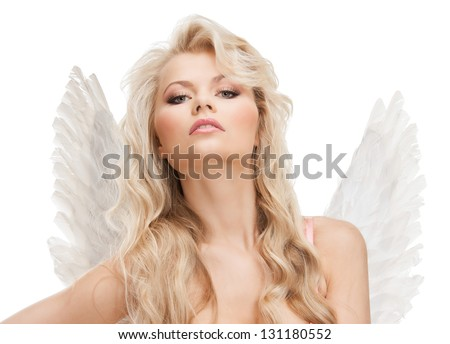 bright picture of angel girl in underwear and wings - stock photo