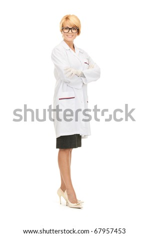 bright picture of attractive female doctor over white - stock photo