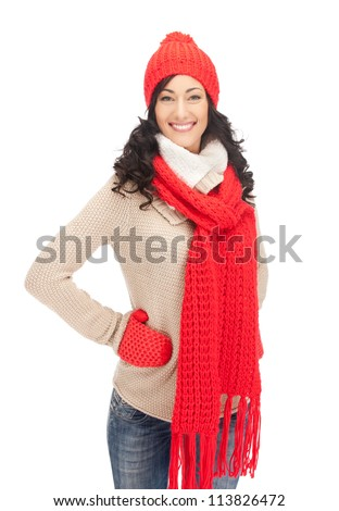 bright picture of beautiful woman in hat, muffler and mittens.. - stock photo