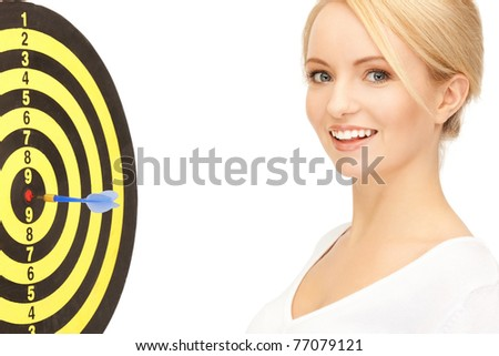 bright picture of businesswoman with dart and target - stock photo