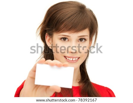 bright picture of confident teenage girl with business card - stock photo