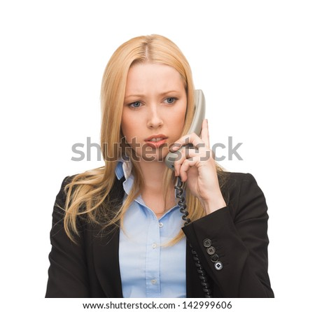 bright picture of confused woman with phone - stock photo