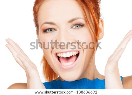 bright picture of excited face of woman - stock photo
