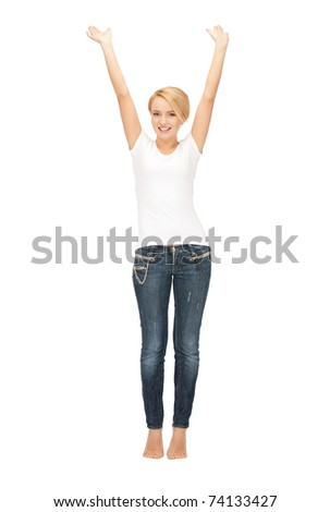 bright picture of happy and carefree teenage girl	 - stock photo