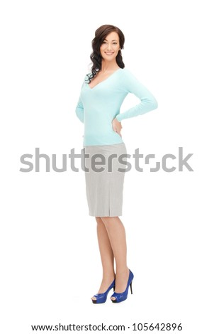 bright picture of happy and smiling woman - stock photo