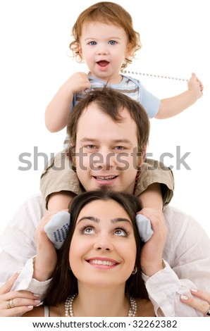 bright picture of happy family over white - stock photo