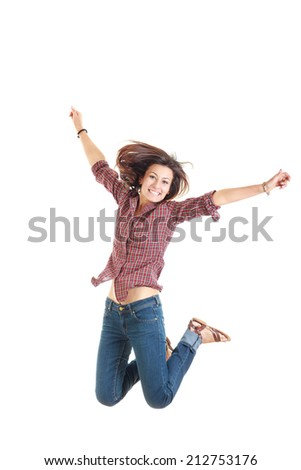 bright picture of happy jumping smiling woman in red shirt - stock photo