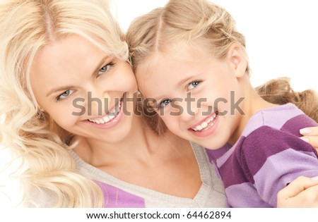 bright picture of happy mother and child - stock photo