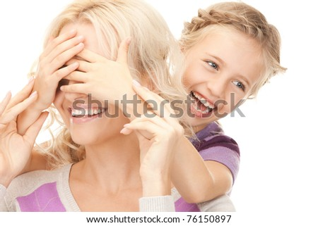 bright picture of happy mother and little girl. - stock photo