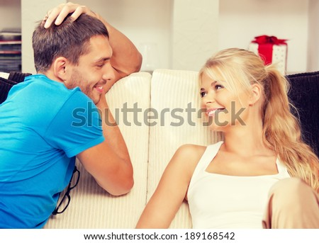 bright picture of happy romantic couple at home - stock photo